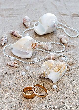 Wedding rings and cockleshells on sand
