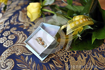Wedding rings and flowers landscape