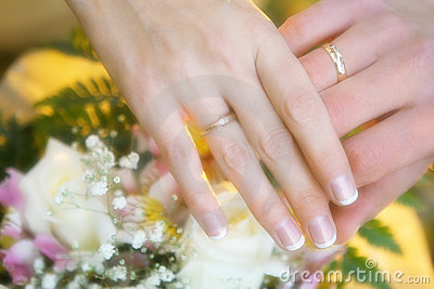 Wedding rings on a hands