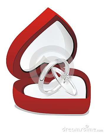 Wedding rings in the heart box