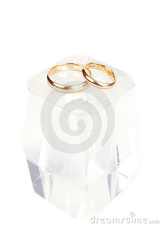 Wedding rings on the ice cube