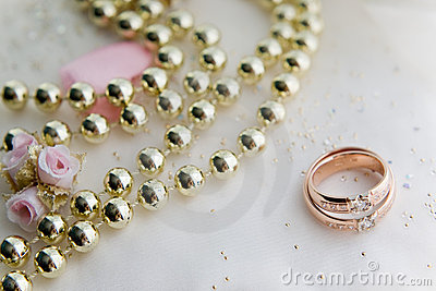 Wedding rings and necklace