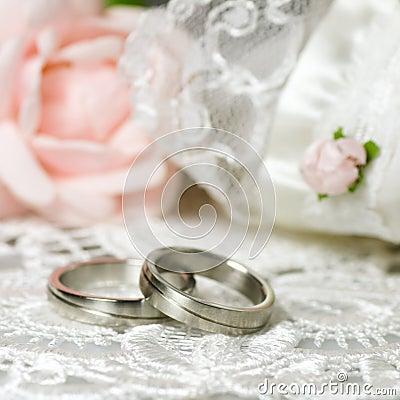 Wedding rings on nostalgic background