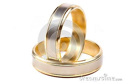 Wedding rings over white