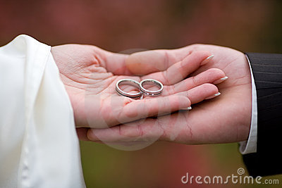 Wedding-rings on palms