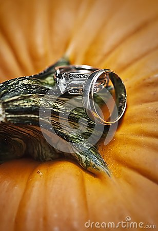 Wedding rings on pumpkin
