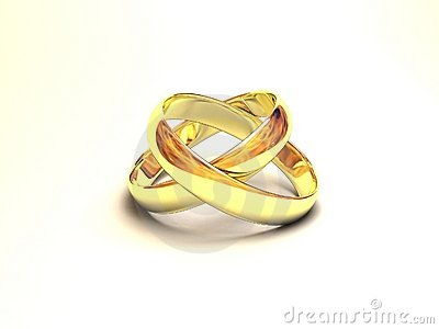Wedding rings with reflection of fire