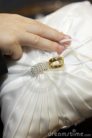 Wedding Rings on Ring Bearer Pillow