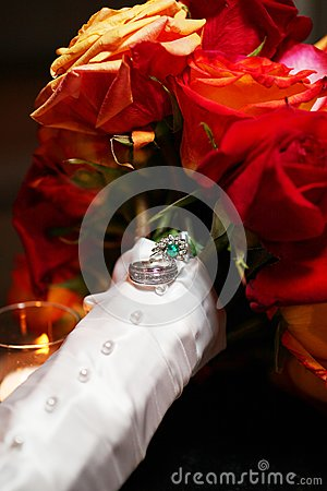 Wedding Rings on Rose Bouquet