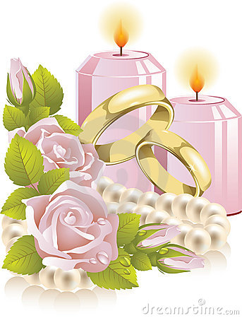 Wedding rings with rose and candle