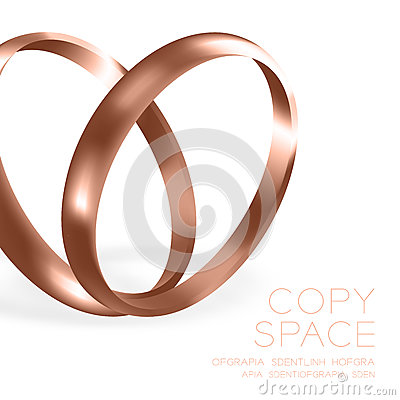 Wedding rings rose gold with sparkle half round style compose Vector Illustration