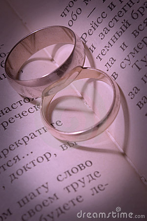 Wedding rings and shades in the form of heart