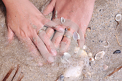 Wedding rings with shells