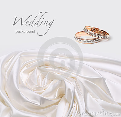 Wedding rings on silk