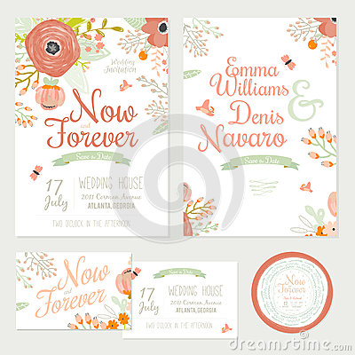 Free Wedding Romantic Floral Save The Date Invitations Stock Photos - 54639523