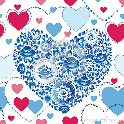 Free Wedding Romantic Seamless Pattern With Hearts, Flowers In Retro Style Royalty Free Stock Photography - 44630587