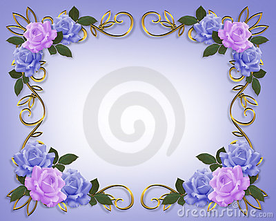 Wedding Roses Border Blue and Lavender