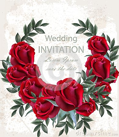 Free Wedding Roses Wreath Vector. Beautiful Red Flowers Garland. Invitation Card Elegant Decor Realistic 3d Illustrations Stock Photos - 118233743