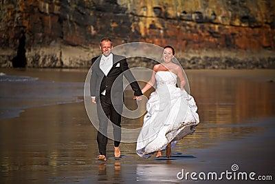 Wedding run on the beach
