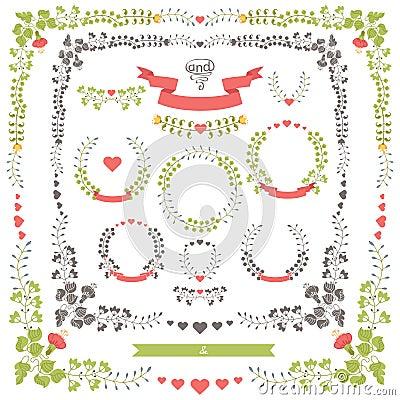 Free Wedding Set Retro Floral Items.Vector Design Template Stock Photos - 41190403