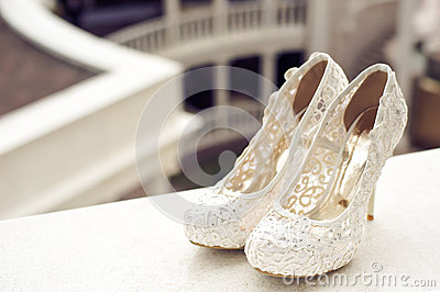Wedding Rings With Bouquet And High Heel Shoes Stock Photography ...