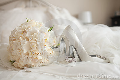 Wedding Shoes white rose bouquet