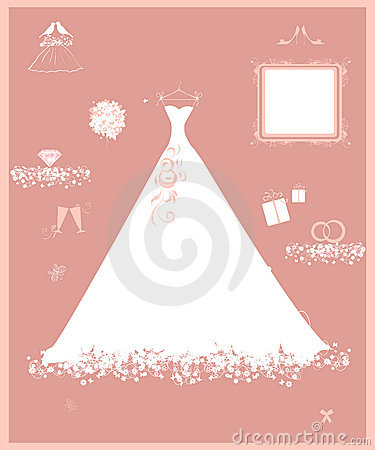 Wedding shop, white dress and accessory