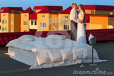 Wedding shot on roof