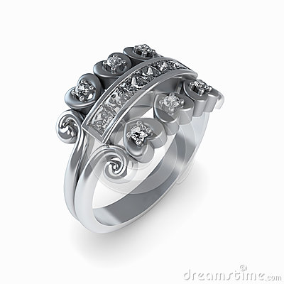 Wedding silver diamond ring isolated