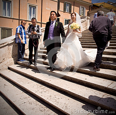 Asian Wedding on Spanish Steps in Rome Editorial Stock Photo