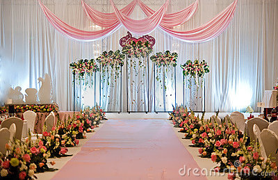 An Chinese wedding stage with traditional floral decorationPhoto taken ...