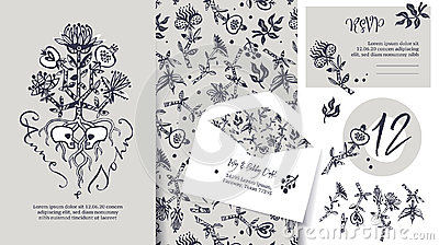 Wedding stationary set. Tree of life Vector Illustration