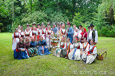 Wedding of Straznice, all folk group Editorial Stock Image
