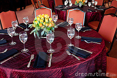 Wedding Table with a red tablecloth
