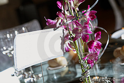Wedding table for a special day with a blank label