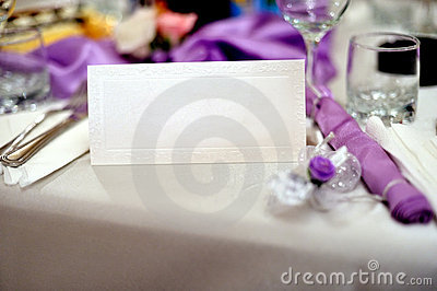 Wedding table with wedding invitation