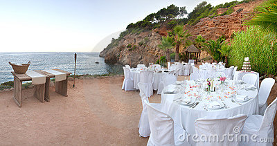 Wedding Tables by sea