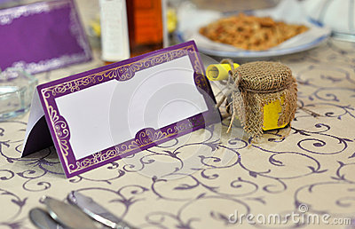 Wedding tablle with blank card