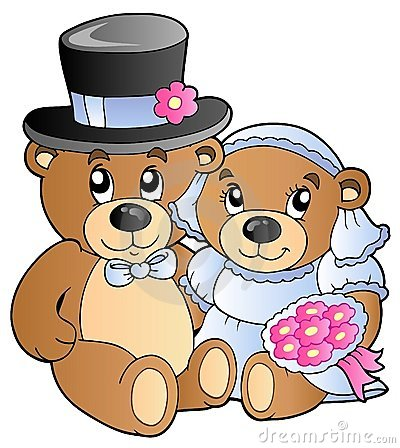 Free Wedding Teddy Bears Royalty Free Stock Photography - 19150457