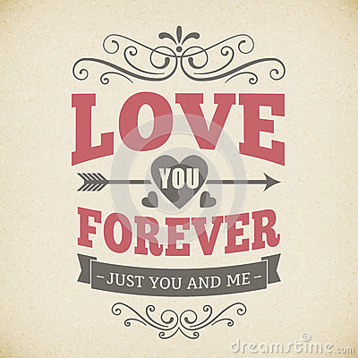 Free Wedding Typography Love You Forever Vintage Card Background Design Royalty Free Stock Photography - 37144017