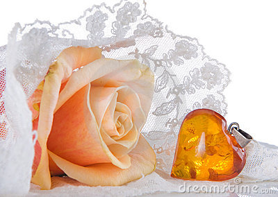 Wedding veil and amber heart