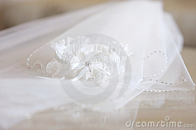 Wedding veil and a garter