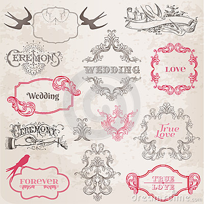 Wedding Vintage Frames and Design Elements