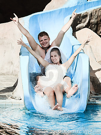 Wedding in water park