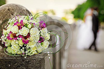 Wedding white and pink bouquet