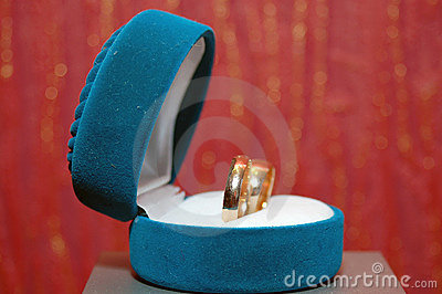 Weddings rings in a blue box