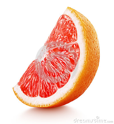 Free Wedge Of Pink Grapefruit Citrus Fruit Isolated On White Stock Photo - 91460880