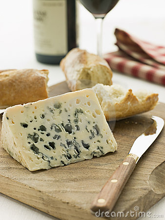Free Wedge Of Roquefort Cheese With Rustic Baguette Stock Images - 5624234