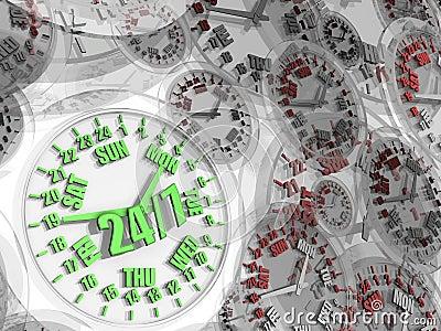 Week clock. Full-time service 24/7