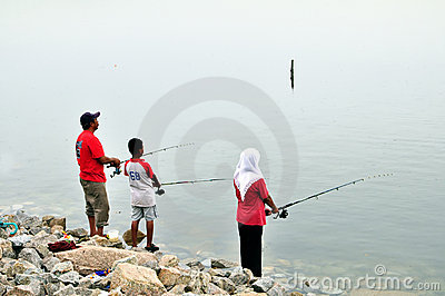 Week End Family Fishing Editorial Stock Image
